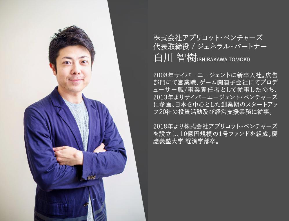 2008年サイバーエージェントに新卒入社。広告部門にて営業職、ゲーム関連子会社にてプロデューサー職/事業責任者として従事したのち、2013年よりサイバーエージェント・ベンチャーズに参画。日本を中心とした創業期のスタートアップ20社の投資活動及び経営支援業務に従事。 2018年より株式会社アプリコット・ベンチャーズを設立し、10億円規模の1号ファンドを組成。慶應義塾大学 経済学部卒。